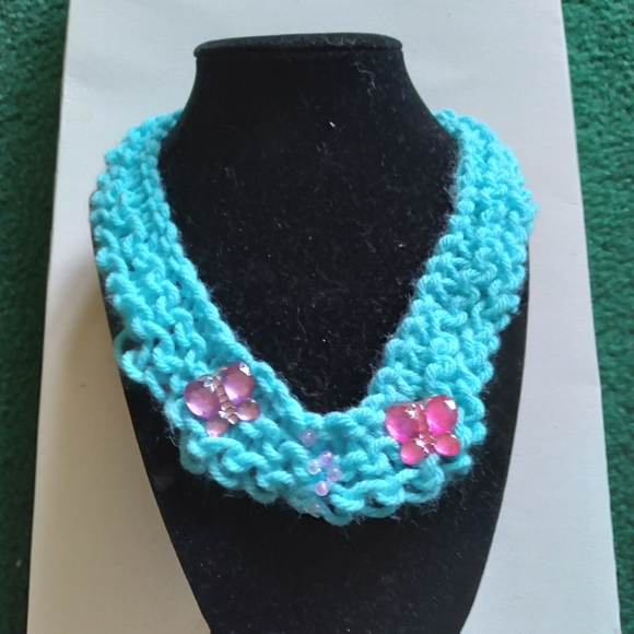 Handmade Crochet Knit Necklace.